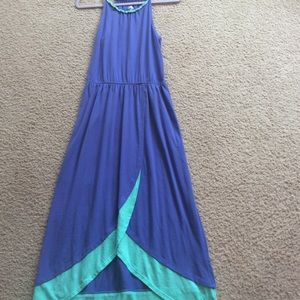 Blue and green maxi dress with slit at bottom